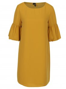 Hořčicové šaty s 3/4 zvonovým rukávem VERO MODA Perfect