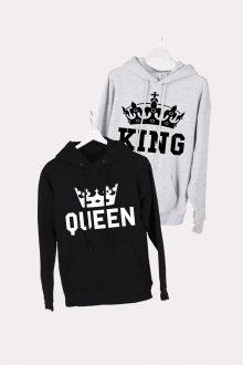 Set mikin s kapucí King Queen Crown Grey + Black [KQ] vel. M + vel. S