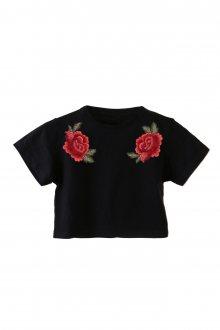 Basic Crop Top Roses s nášivkou vel. S