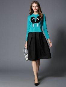 Kaimilan Dámský komplet - mikina a sukně, QC657 Turquoise & Black