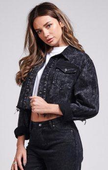 Denim Jacket Cropped Black Sik Silk M