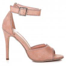 Sexy růžové sandály na vysoké jehle zdobené kamínky
