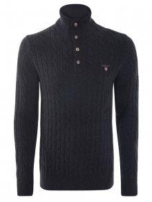 Tmavě šedý luxusní svetr s knoflíky od Gant Size: S