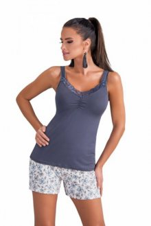 Donna Daria dámské pyžamo 1/2 gray šedá XL šedo-ecru