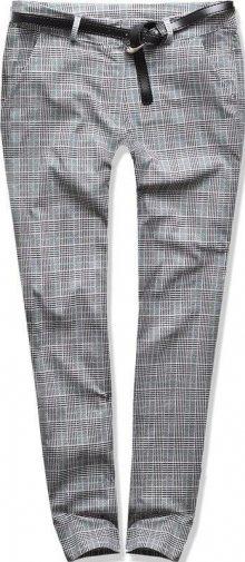 Šedo-zelené kárované kalhoty