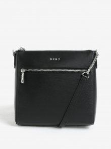 Černá kožená crossbody kabelka s detaily ve stříbrné barvě DKNY Bryant