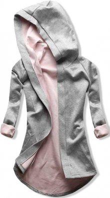 Šedo-růžová tunika s kapucí