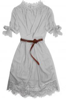 Šedé šaty s páskem