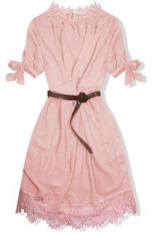 Pudrové šaty s páskem