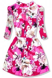 Malinově růžové květinové lehké šaty