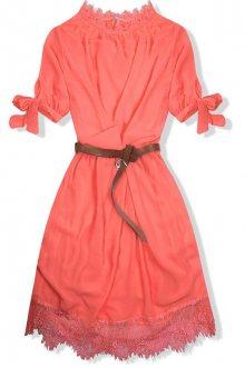 Neonově oranžové šaty s páskem