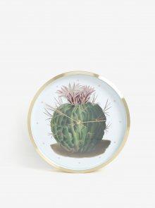 Bílo-zelené nástěnné hodiny s motivem kaktusu Magpie Botanical