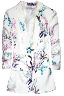 Bílo-růžové květinové sako