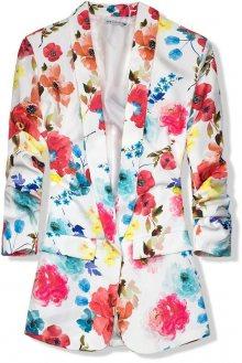 Bílo-červené květinové sako