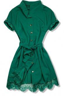 Zelené šaty s krajkovým lemem