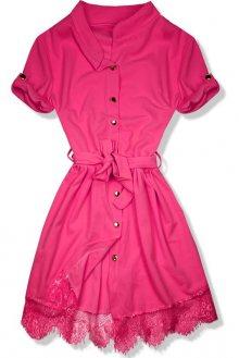 Neonově růžové šaty s krajkovým lemem