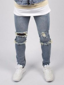 Skinny Ripped Jeans Light Blue Liquor N Poker 34