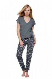 Sensis Adele Dámské pyžamo XL grafitovo (tmavě šedá) - bílá