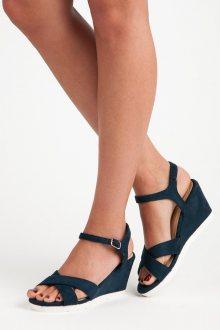 Pohodlné tmavě modré sandály na klínku