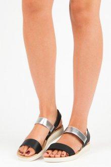 Parádní černé sandály s gumičkami