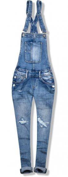 Modré jeans kalhoty s laclem