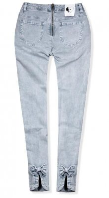 Šedé jeans kalhoty se zipem vzadu