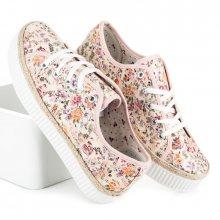 Krajkové růžové tenisky s květinovým vzorem