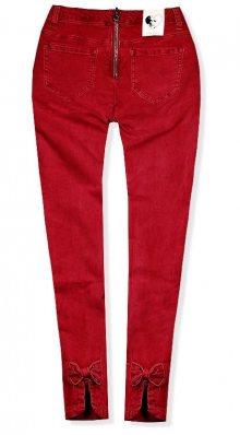Červené jeans kalhoty se zipem vzadu