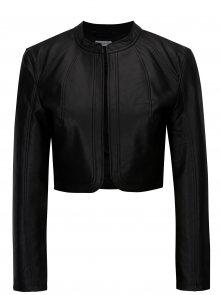 Černá koženková krátká bunda Jacqueline de Yong Rich