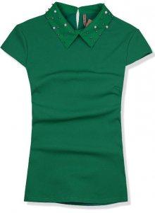 Zelený top s perlovým límcem