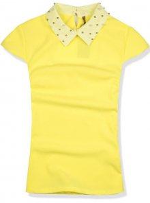 Žlutý top s perlovým límcem