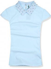 Baby blue top s perlovým límcem