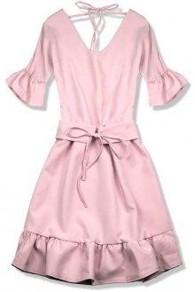 Světle růžové šaty s výstřihem na zádech