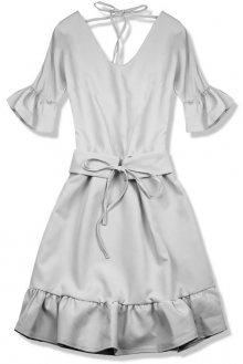 Šedé šaty s výstřihem na zádech
