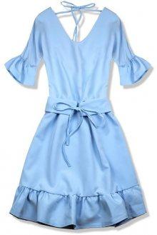 Světle modré šaty s výstřihem na zádech