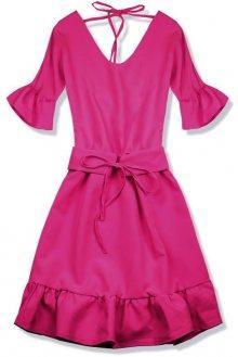 Tmavě růžové šaty s výstřihem na zádech