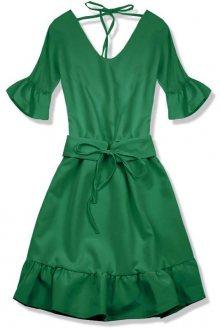 Zelené šaty s výstřihem na zádech