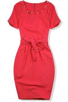 Neonově oranžové šaty s perlami