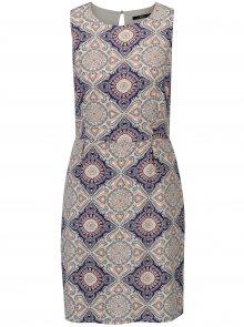Modro-krémové vzorované šaty ONLY Nova Caroline