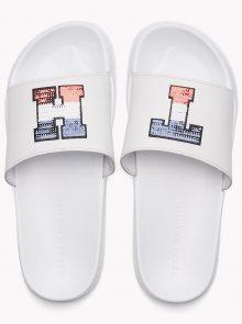 Tommy Hilfiger bílé kožené pantofle Sequins Sparkle Pool Slide RWB - 37/38