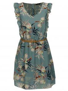 Zelené květované šaty s krajkou na zádech a volánky ONLY Libby