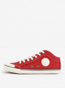 Bílo-červené pánské plátěné tenisky Pepe Jeans Industry