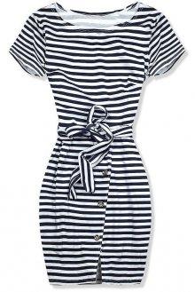Modré šaty midi proužky