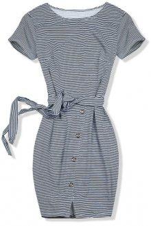 Modré šaty micro proužky