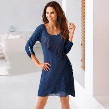 Blancheporte Šaty z úpletu a krajky modrá 38