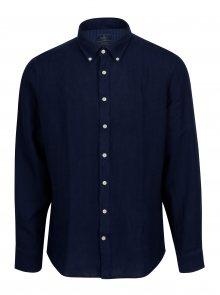 Tmavě modrá lněná slim fit košile Hackett London
