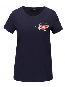 Tmavě modré tričko s potiskem a výšivkou VERO MODA Yoshi