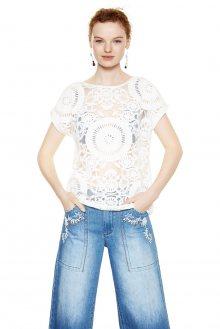 Desigual bílé transparentní tričko Dalia