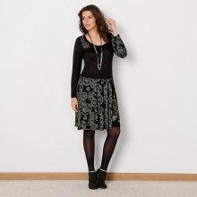 Blancheporte Šaty s potiskem a dlouhými rukávy černá/medová 38/40
