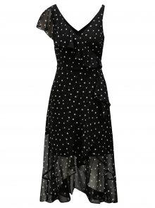 Černé puntíkované midišaty s volány Dorothy Perkins